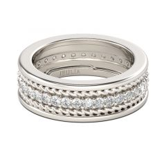 Jeulia Rope Round Cut Sterling Silver Men's Band