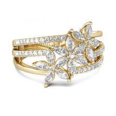 Jeulia Flower Marquise Cut Split Shank Sterling Silver Ring